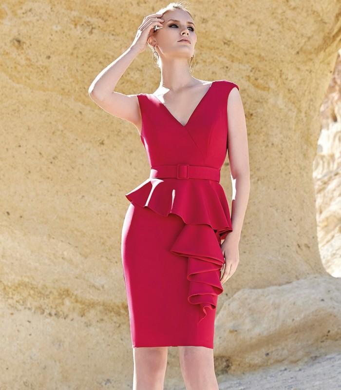 Vestido corto rojo peplum