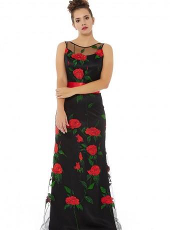 Vestido de flores en fondo negro