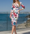 Printed dress with crossover neckline