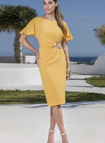 Vestido corto amarillo fruncido en la cintura
