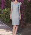 Light blue short dress with French sleeves