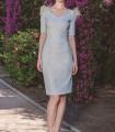 Vestido corto azul celeste y manga francesa