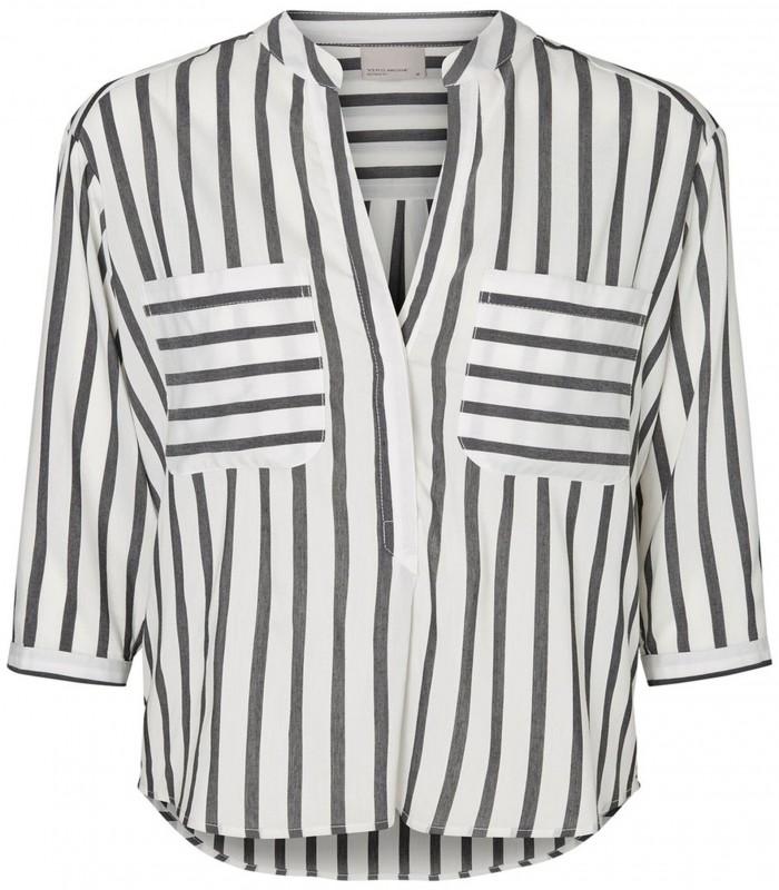 Mao neck striped blouse
