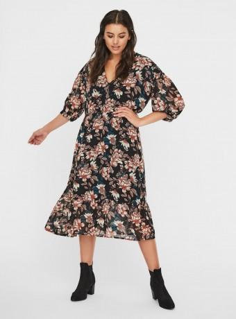 Midi floral print dress