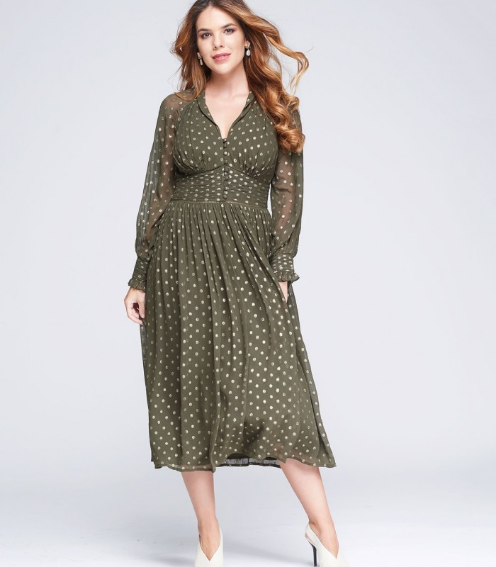 Green dress with gold polka dots