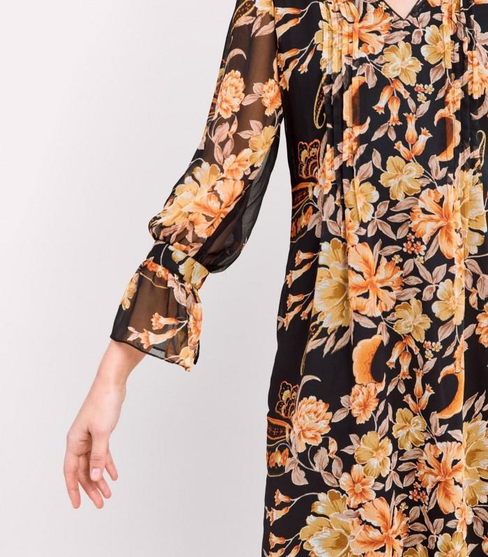 Vestido estampado nararanja y fondo negro