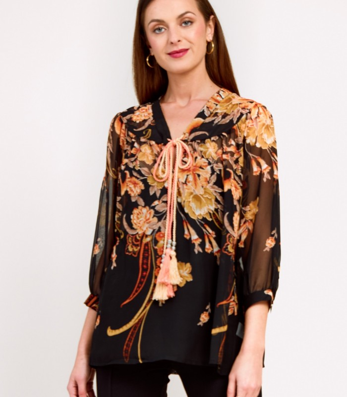 Printed blouse with black background