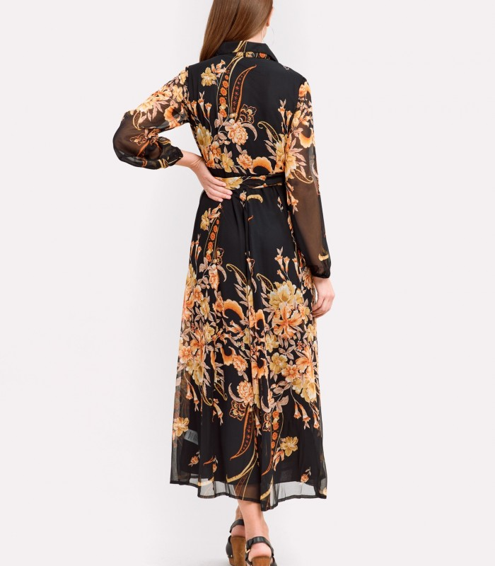 Vestido Midi estampado naranja y fondo negro