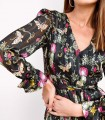 Printed dress with semi-transparent sleeves