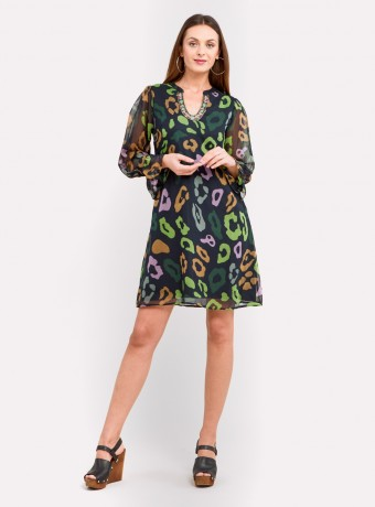 Vestido corto estampado verde