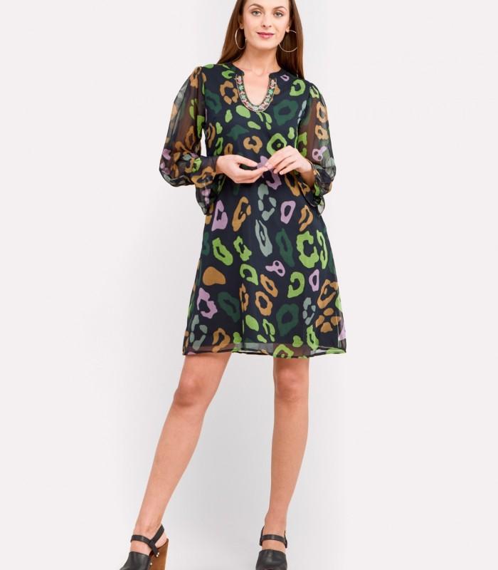 Green print short dress