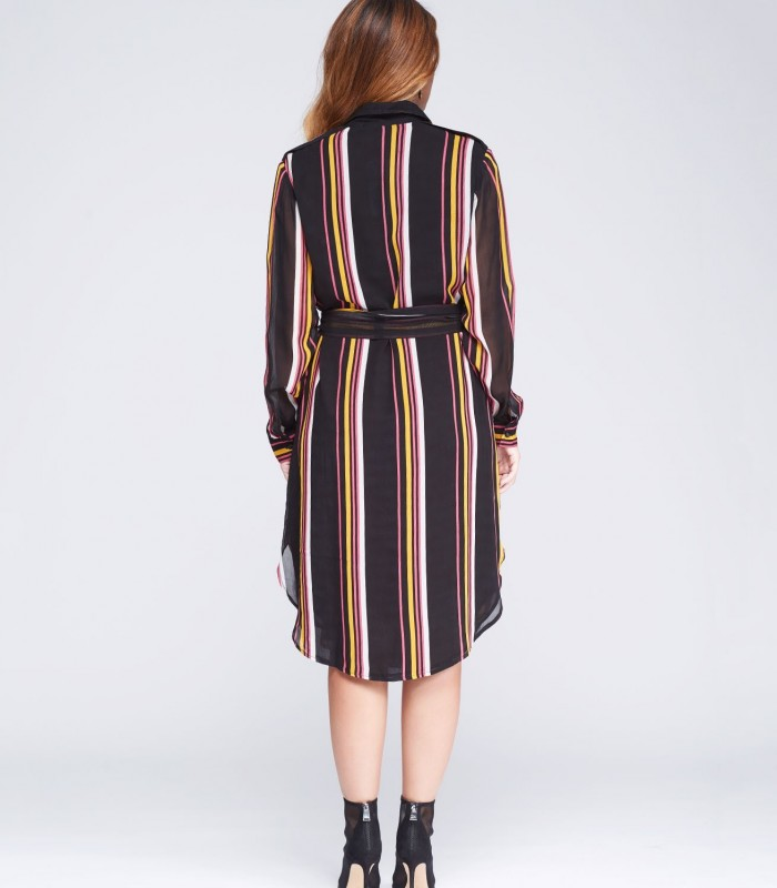 Buttoned striped dress