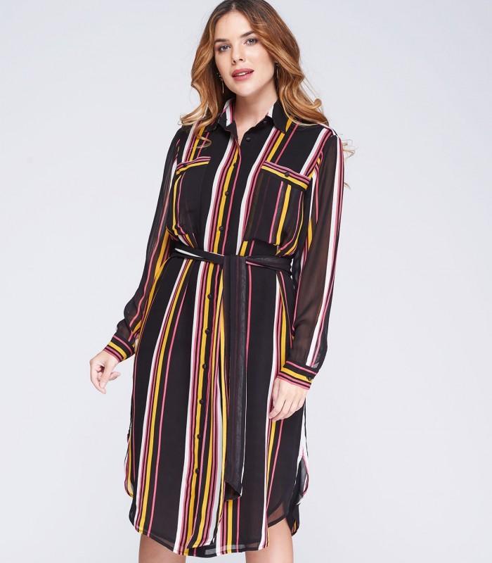 Vestido de rayas abotonado