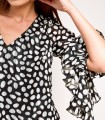 Short polka dot dress with V-neck
