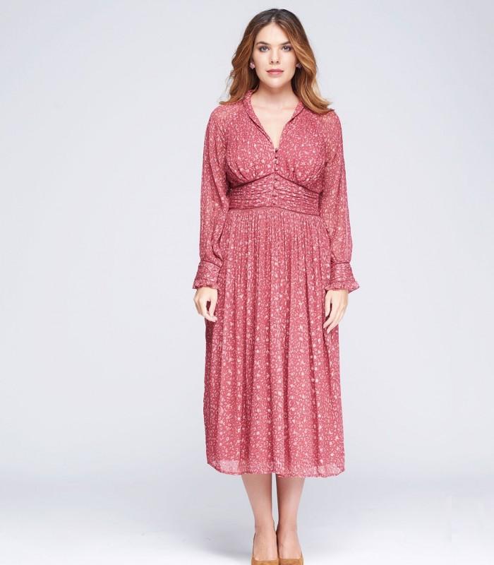 V neck print and lurex midi dress