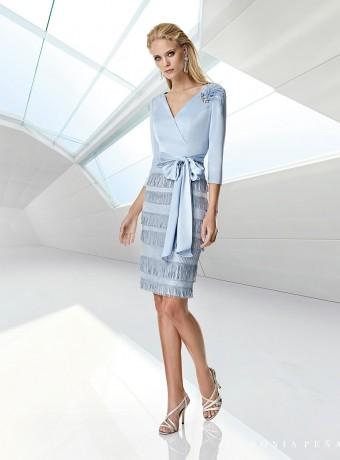 Light blue dress with fringe skirt