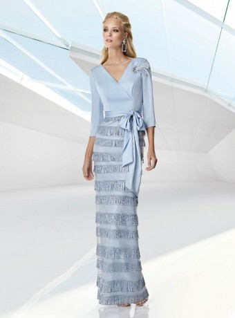 Light blue long dress with fringe skirt