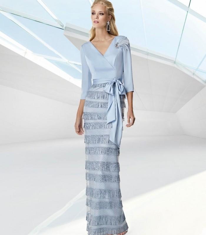 Light blue long dress with fringe skirt