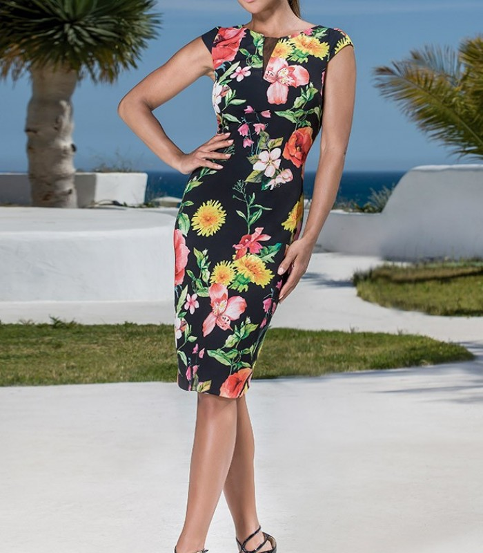 Floral print dress with short sleeves