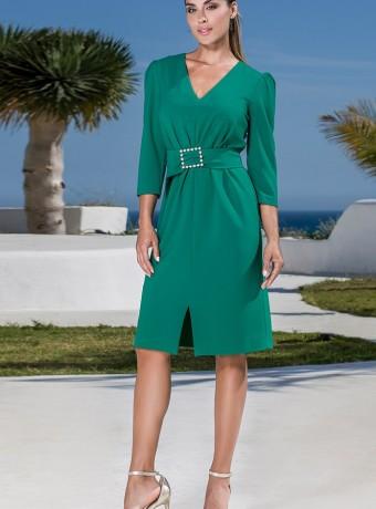 Vestido corto verde fruncido en la cintura