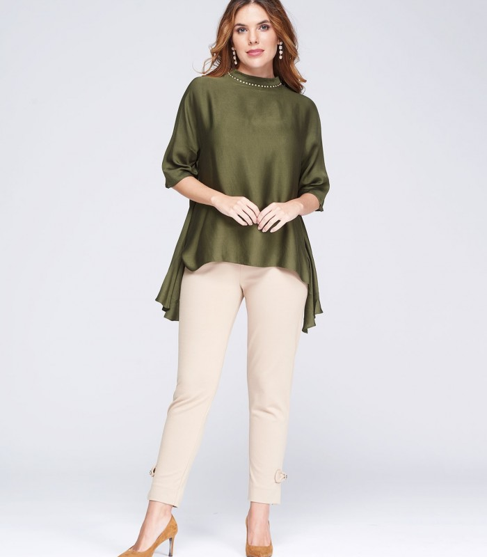 Green blouse with rhinestones on the neck