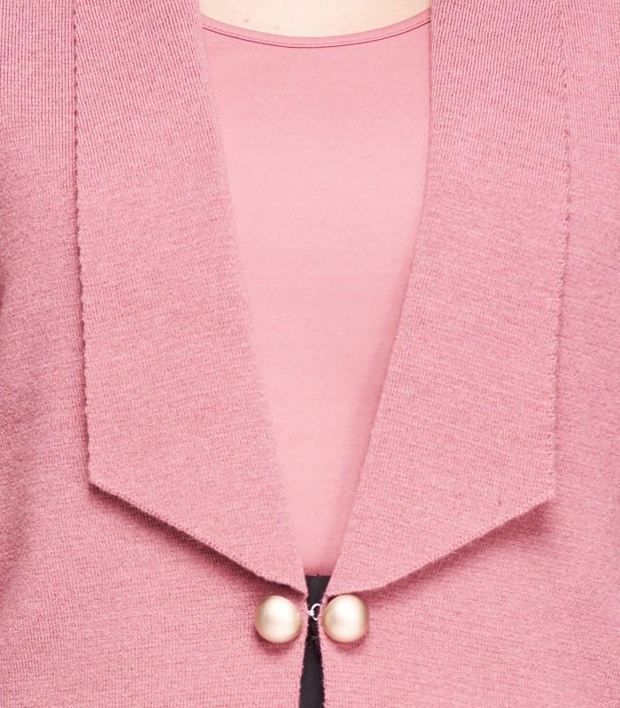 rebeca rosa punto con botones dorados