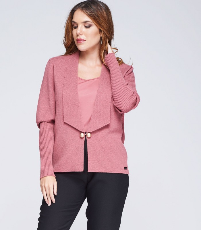 Pink knitted cardigan with gold buttons