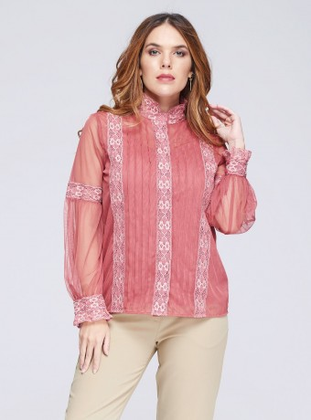 Pink tulle and lace blouse