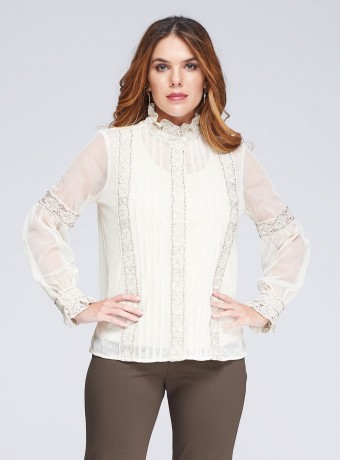 Romantic tulle and lace blouse