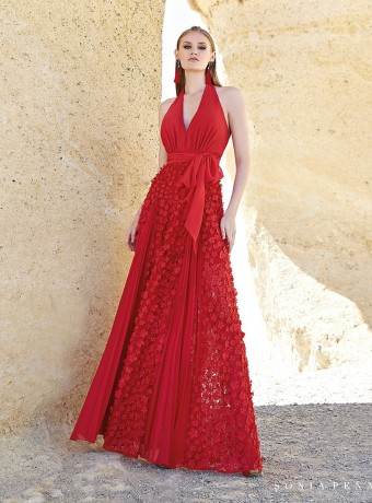 Vestido largo rojo Sonia Peña