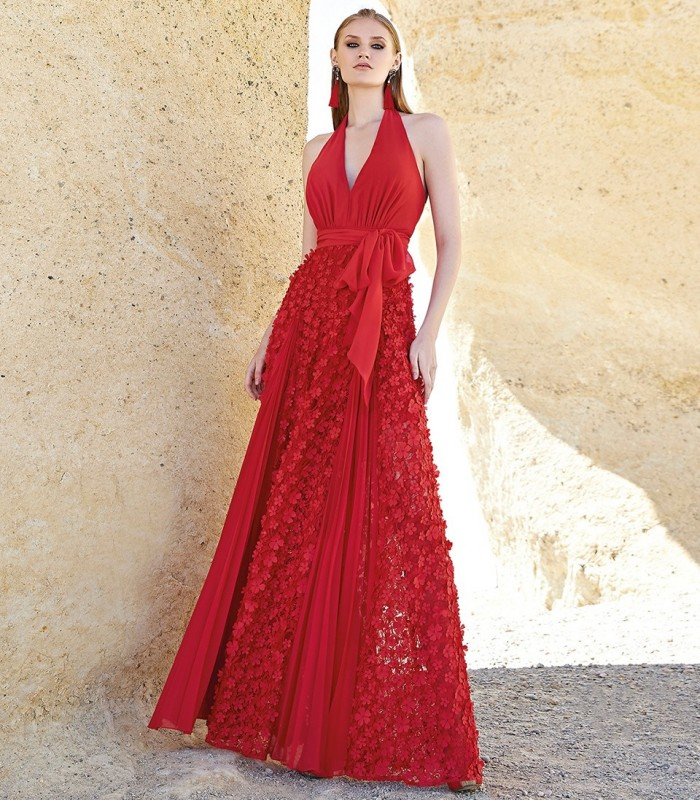 Long red dress with halter neck