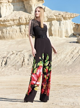 Long jumpsuit with black lace top