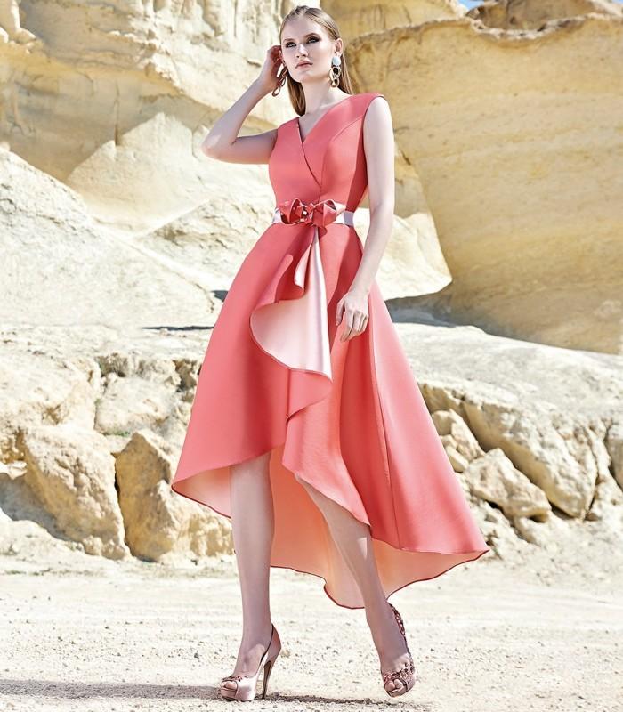 Crossed neckline dress with ruffle skirt