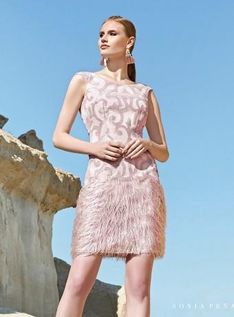 Vestido corto rosa con flecos