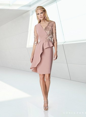 Pink dress with asymmetric ruffle and lace