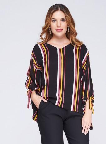 Striped V-neck blouse