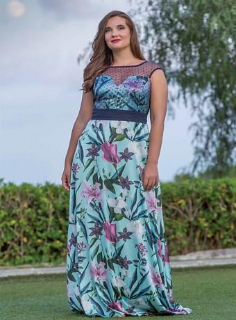 Round neck plumeti print dress