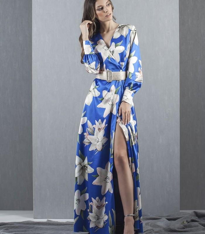 Long dress printed in blue tones