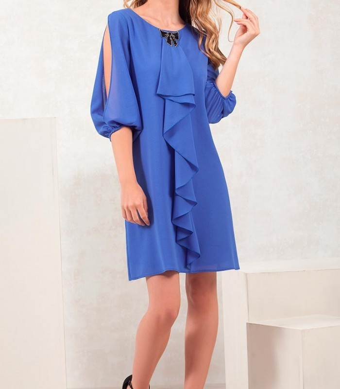 Blue dress with semi-open sleeves