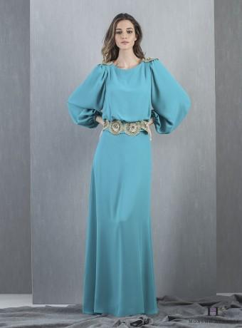 Vestido largo turquesa manga larga