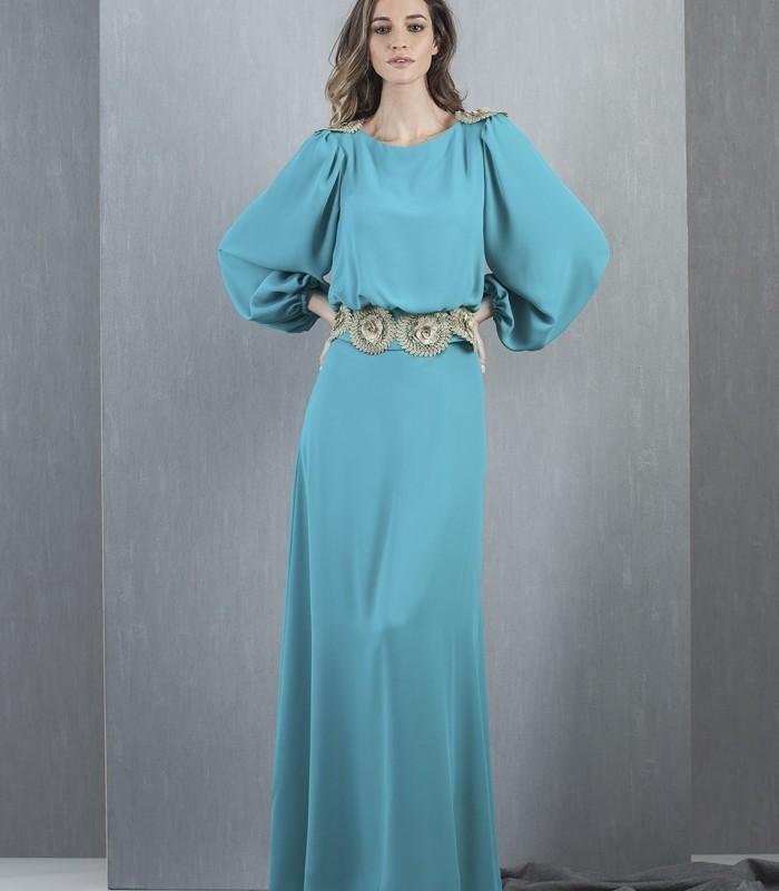 Long sleeve turquoise maxi dress