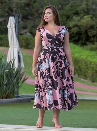 Vestido Midi rosa y negro
