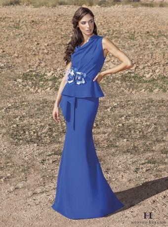 Vestido largo azul pèplum con flor