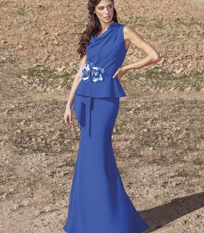 Blue long peplum dress with flower