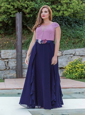 Long pink plumeti dress and navy skirt