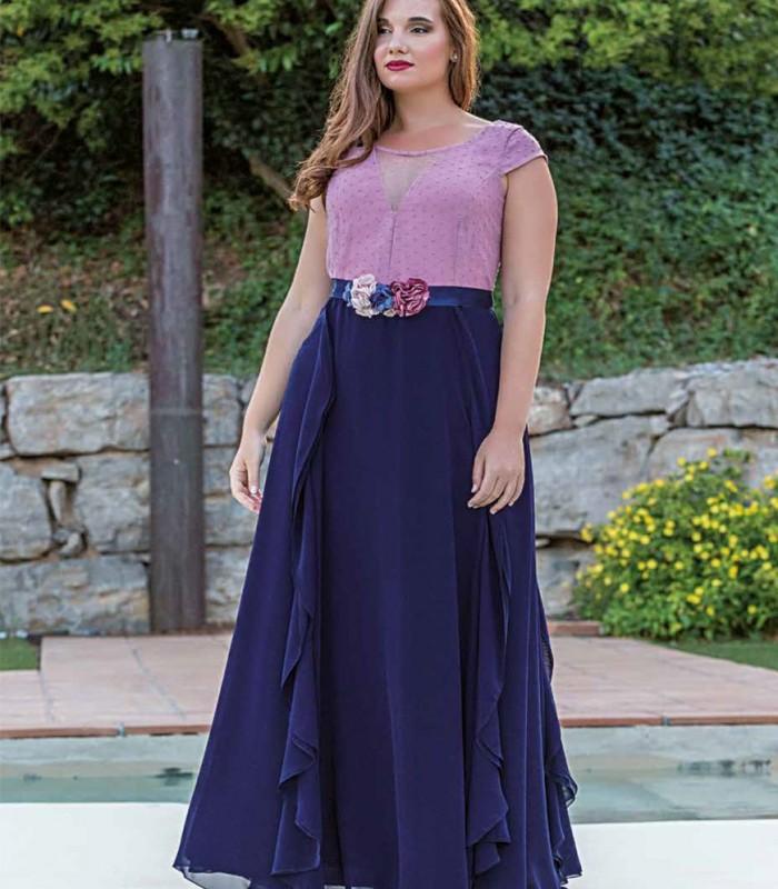 Vestido largo rosa plumeti y falda marino
