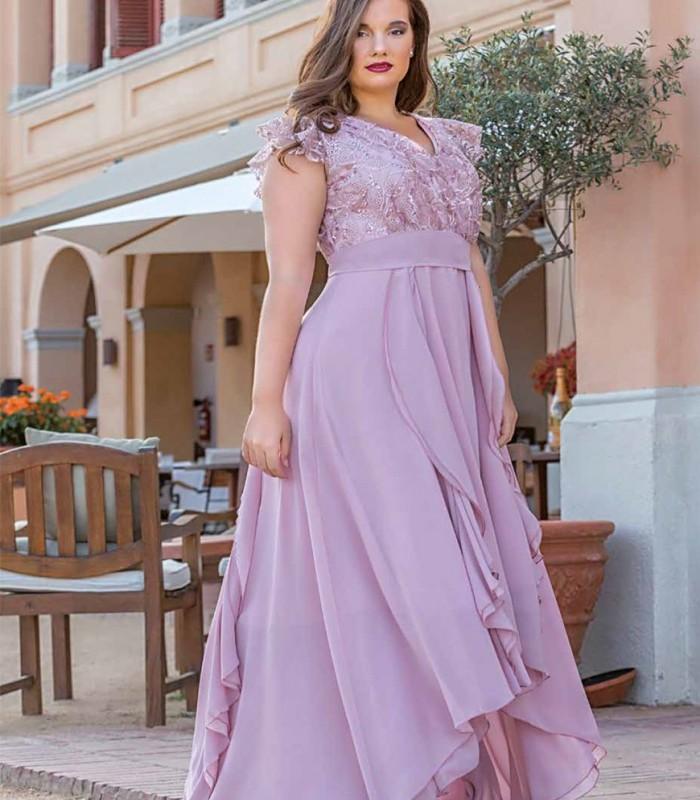Pink ruffled midi dress
