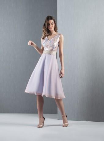 Lilac Jacquard Chiffon Dress