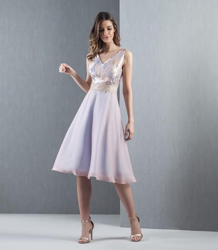 Vestido de gasa lila  jackard