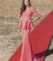 Long coral peplum dress